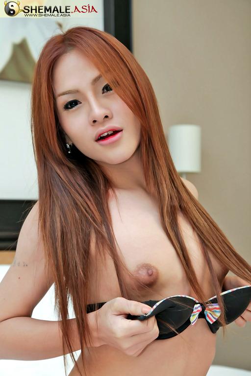 Redhead Ladyboy Jerking Her Asian Cock